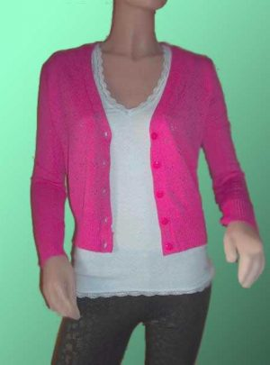 Saquito Sweater De Hilo Y Lycra Color Fucsia