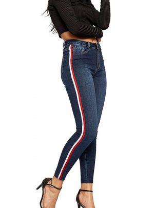 Jean azul con franja lateral chupin