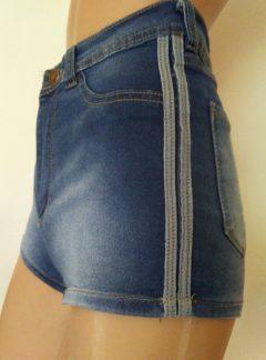 Short de jean azul tiras laterales