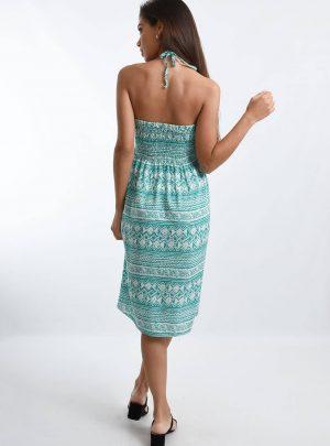 Vestido fibrana con aplique madera cuello