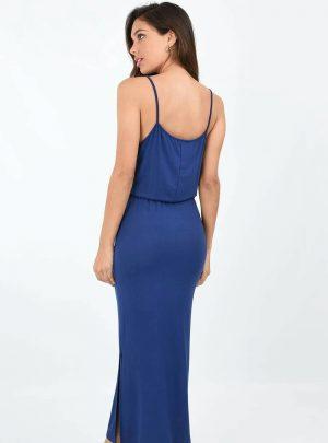 Vestido modal largo elastico cintura