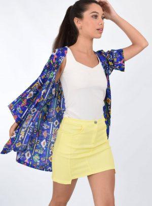 Kimono fibrana estampado incaico