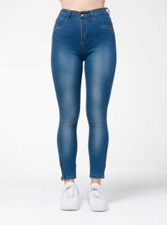 Jean chupin azul cierre en tobillo