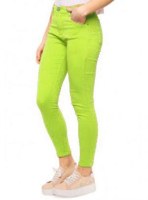 Jean chupin color verde lima Tiro alto Elastizado. Inquieta CH597