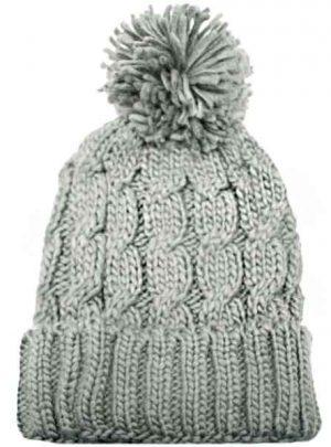 Gorro de lana trenzado con pompón. Varios Colores