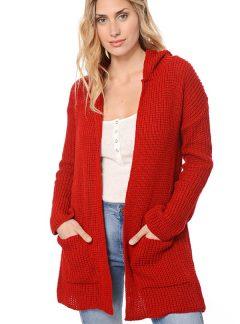 Saco tejido lana con capucha y bolsillos. Varios colores
