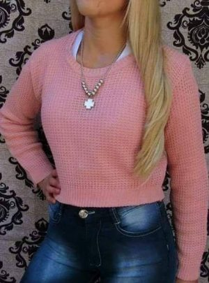 Sweater liso corto. Varios colores