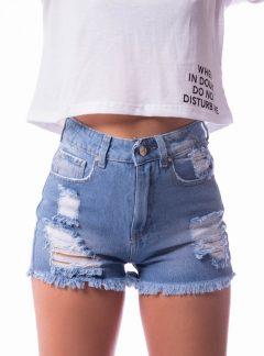 Short de jean azul roturas Rigido Tiro alto. Inquieta. SH184