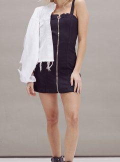 Vestido de jean negro cierre Elastizado. Inquieta VE101
