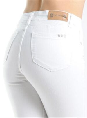 Jean Mujer Chupin Blanco roturas Tiro Alto