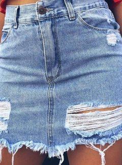 Pollera de jean rigida roturas Inquieta