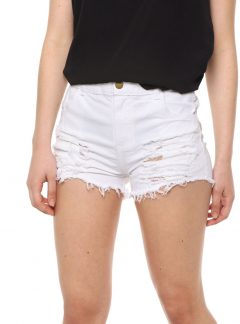 Short de jean mom blanco roturas Tiro alto. Inquieta. SH189