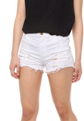 Short de jean mom blanco roturas Tiro alto. Inquieta. SH189