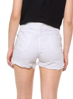 Short de jean mom blanco roturas Tiro alto. Inquieta. SH189.