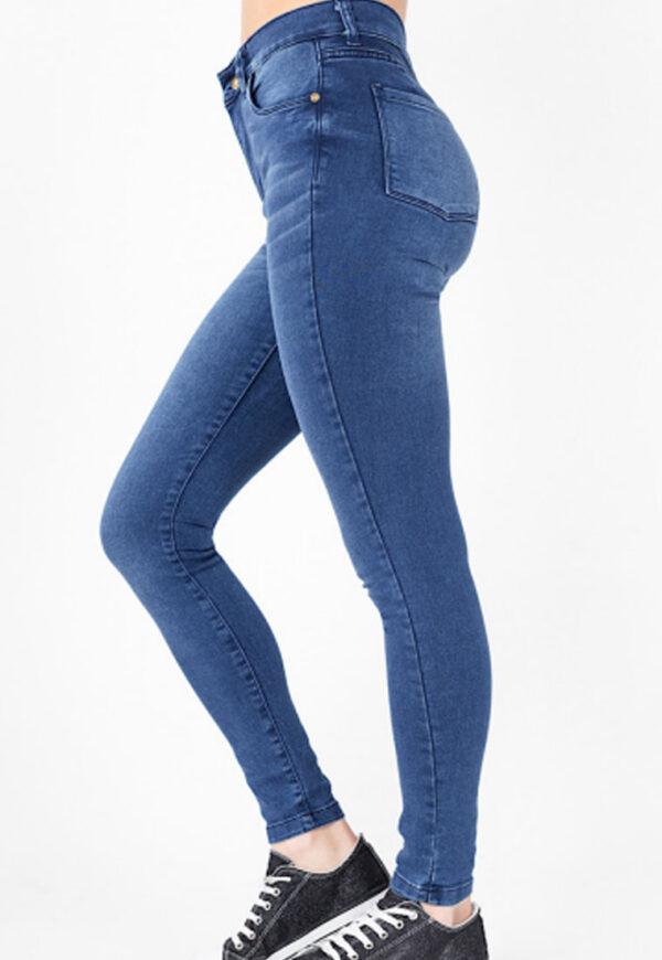 Jean mujer chupin costura azul tiro alto Inquieta