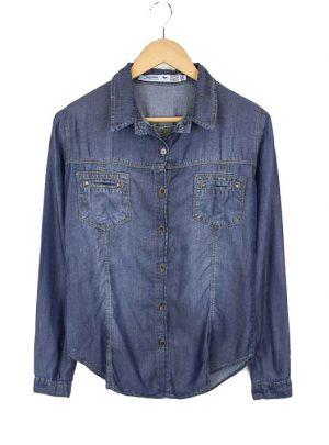 Camisa de jean azul localizado Inquieta