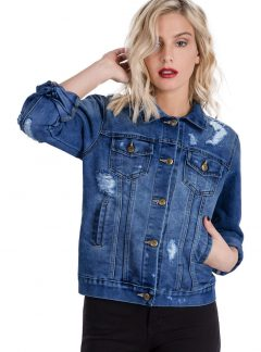 Campera de jean azul con roturas y localizado Inquieta