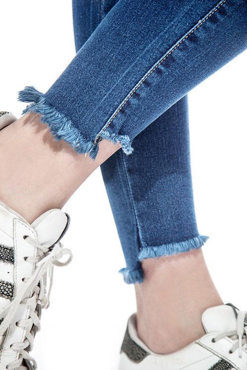 Jean azul bota irregular localizado chupin Inquieta. CH632
