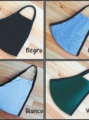 Tapaboca tela doble capa lavable reutilizable pack x 10 unidades