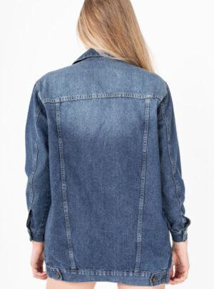 Campera de jean azul roturas rigida oversize Inquieta