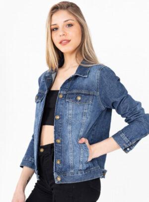 Campera de jean azul rigida clasica Inquieta