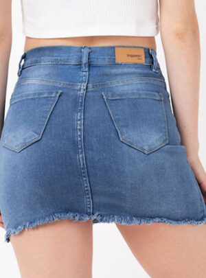 Pollera de jean azul elastizada Inquieta. PO14