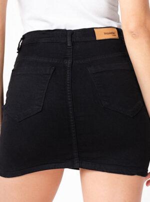 Pollera de jean negra con cierre elastizada Inquieta. PO07