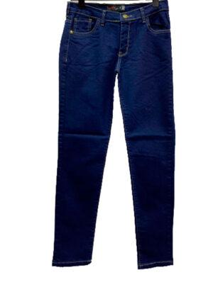 Jean azul marino hilo camel Tiro alto. Inquieta. Talle 44 al 54. TA12265.