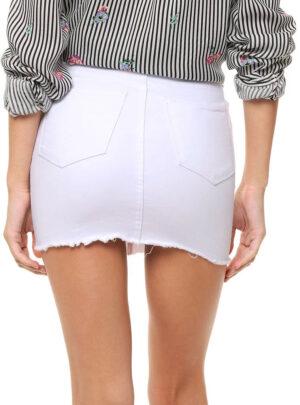 Pollera de jean rigida blanca con flecos Inquieta. PO01.